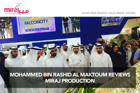 Mohammed Bin Rashid Al Maktoum reviews Miraj Production for Falconcity at Cityscape 2015, Dubai, UAE