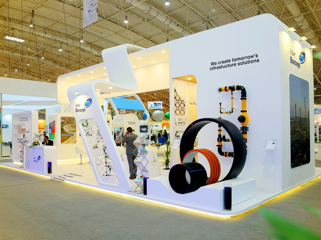 Modern Exhibition Stand Zone : Designed and installed an elegant stand modern curved